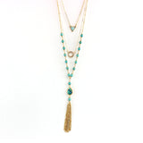 bohemian beads & chain tassel pendant necklace for women