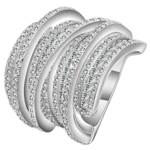 luxury multilayer zircon crystal mosaic silver color ring for women