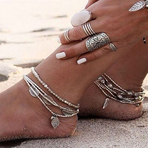 bohemian multilayer chain leaves shape anklet for women