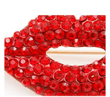 sexy red crystal rhinestones lips brooch pin for women