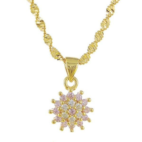 elegant cz paved crystal crown pendant necklace for women