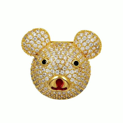 cute cubic zircon crystal pave bear brooch pin for women