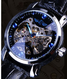 trendy skeleton mechanical leather band wrist watch for men