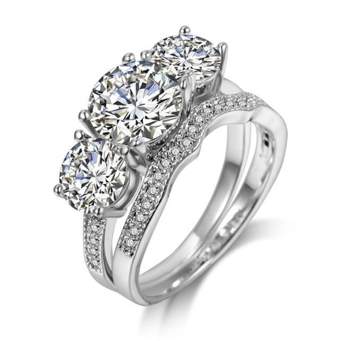 luxury silver color paved cubic zircon double rings for women