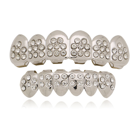 hip hop style iced out rhinestone teeth grillz jewelry