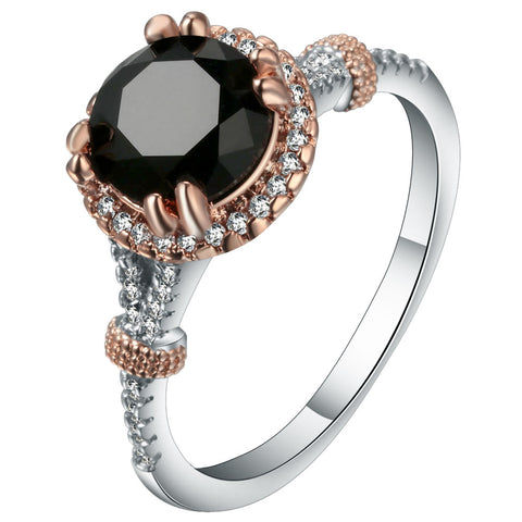 elegant silver color black & white cz crystal ring for women