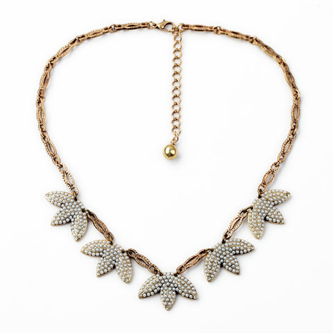 elegant simulated pearl leaf tassel statement necklace for women