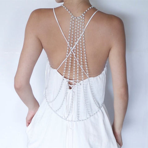 elegant long simulated pearl back chain body jewelry for women