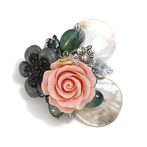 elegant natural shell flowers ornament brooch pin for women