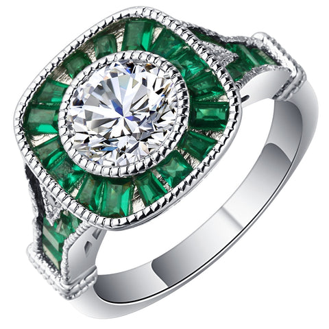 luxury green & white cz paved zircon ring for women