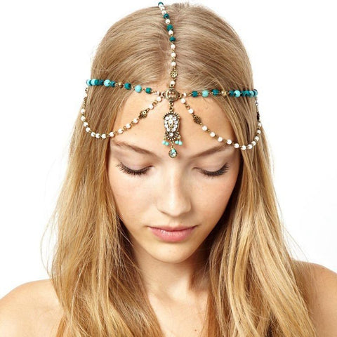 boho style beads hair chain headband for women
