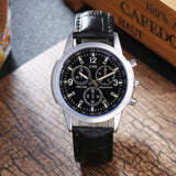 elegant leather strap quartz wrist watch for men