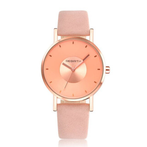 casual leather band quartz wrist watch for women