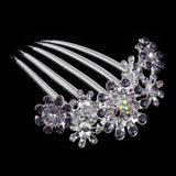 vintage silver color rhinestone flower hair comb for women
