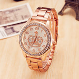luxury stainless steel crown pattern quartz watch for women