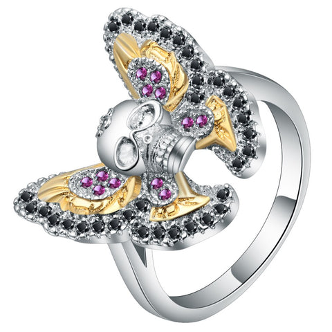 cool design skull & butterfly shaped cubic zircon ring for women