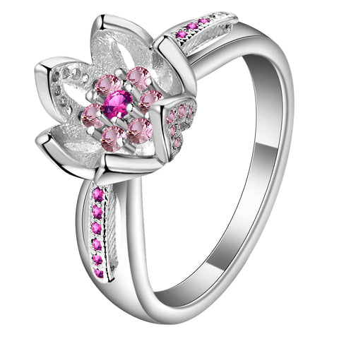 elegant pink cz crystal silver color flower shape ring for women