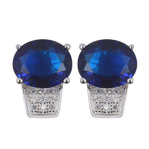 dark blue cubic zirconia 925 sterling silver earrings