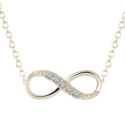 elegant cz crystal infinity pendant necklace for women