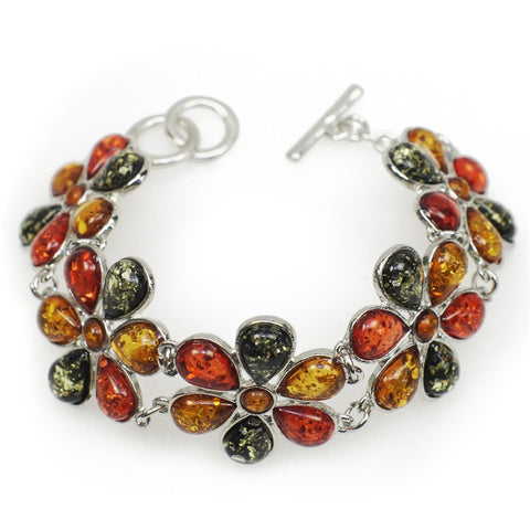 multicolor flowers link bangle bracelet for women