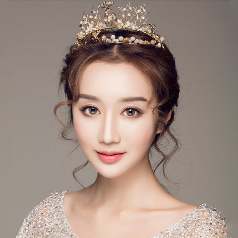 cute golden deer with pearl branches design hair tiara crown
