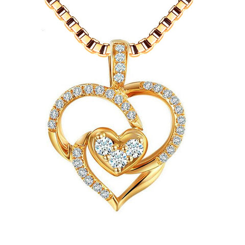 elegant hollow hearts with cz zircon pendant necklace for women