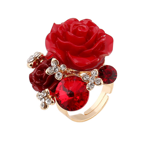 crystal rose flowers design open ring for women