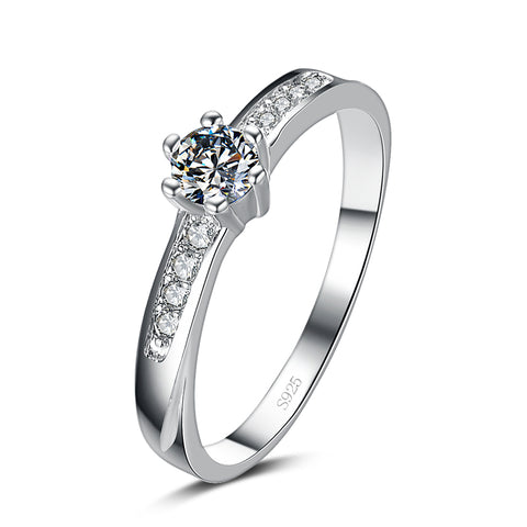 elegant silver plated crystal zircon ring for women
