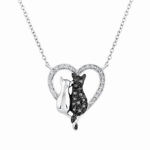 black & white plated cats crystal pendant necklace for women