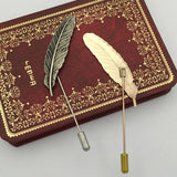 vintage style metal feather shape brooch lapel pin for men