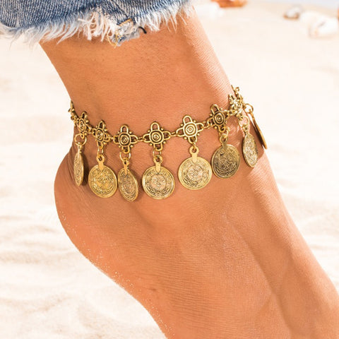 ethnic gold/silver color metal coin tassel anklet for women