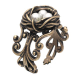 vintage bird nest with eggs shaped ring for women