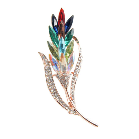 elegant colorful crystal rhinestones wheat shaped brooch pin