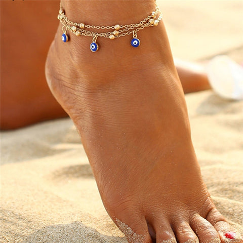 bohemian blue color evil eye charms & beads anklet for women