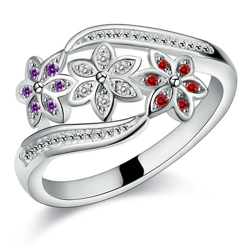 luxury silver plated crystal flowers ring for women