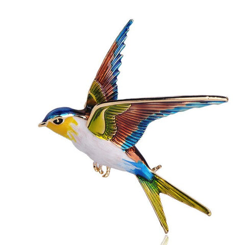PINtrendy vivid color enamel swallow bird shape brooch pin