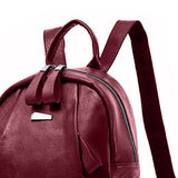 casual solid color pu leather student backpack bag for women