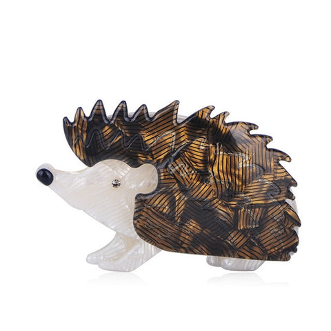 PINcute resin brown color hedgehog shaped brooch pin