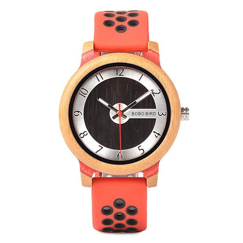 trendy minimal design wooden dial silicon band wrist watch