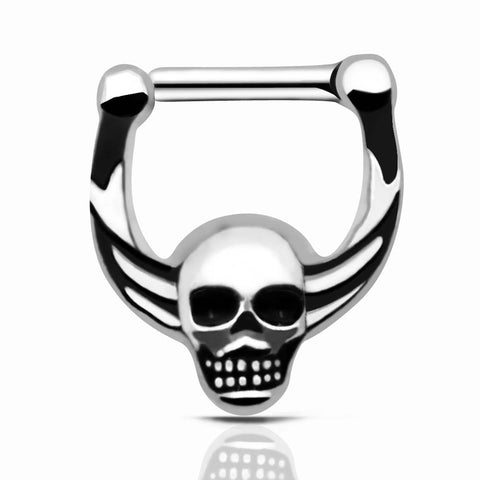 stainless steel septum click skull nose ring
