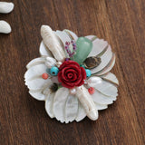 natural shell flower bouquet with pearl brooch pin jewelry
