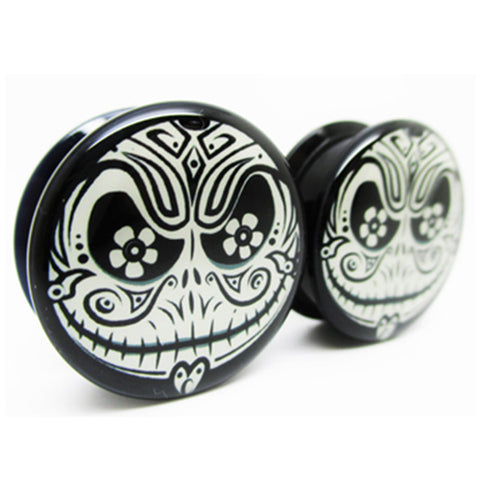 black acrylic flower jack ear plugs gauges earrings