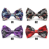 casual colorful scotish plaid pattern butterfly bow tie for men