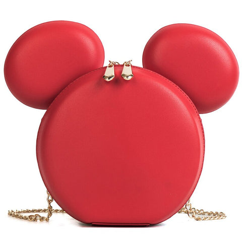 cute big ears mouse shaped pu leather shoulder bag for women