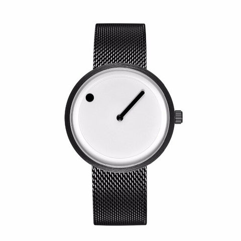 trendy minimal desing dial stainless steel band wrist watch