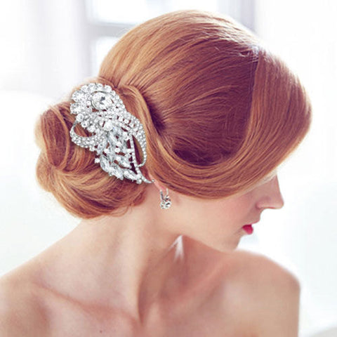 crystal clear flower hair comb tiara for bridal