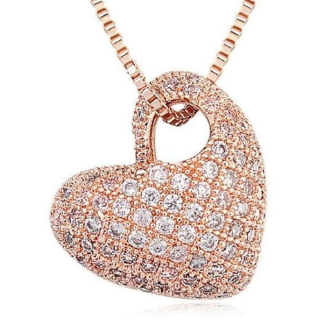 luxury micro paved cubic zircon heart shaped pendant necklace