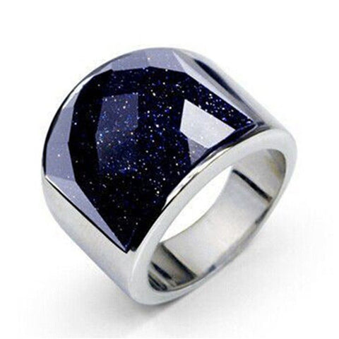 luxury purple natural stone stainless steel ring for men