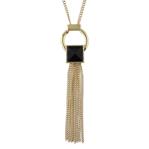 black acrylic long tassel gold color necklace & pendant