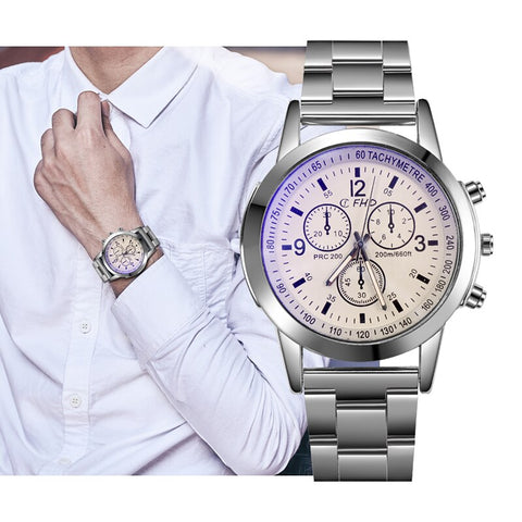sport chronograph dial stainless steel quartz wrist watch for men